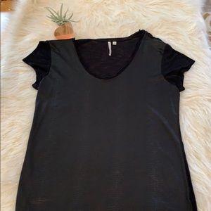 EUC Black Faux Snakeskin T-Shirt